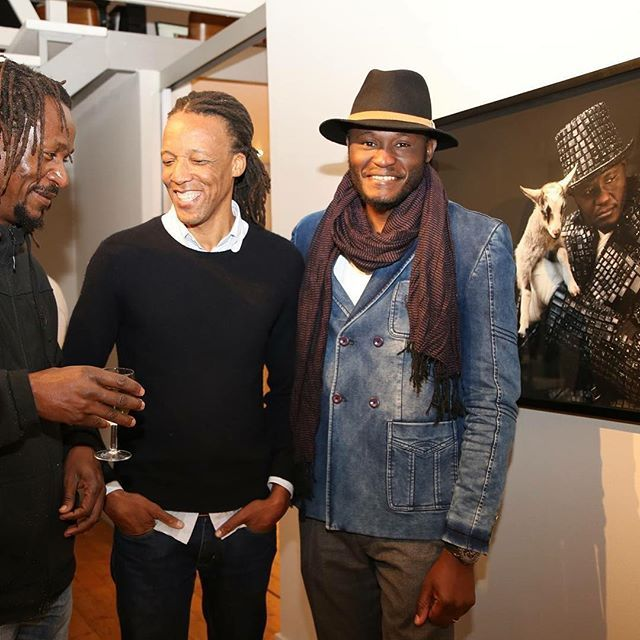 """What a fabulous opening to celebrate the powerful works by #MauriceMbikayi. Come by and view his first solo #exhibition at #GalleryMomo #Johannesburg """"Mupia-Mupia"""", on until Monday 18 July 2016. Here is a picture by Musa Rapuleng of #MonnaMokoena & #MauriceMbikayi during the #opening.  #ContemporaryArt #Photography #Event"""