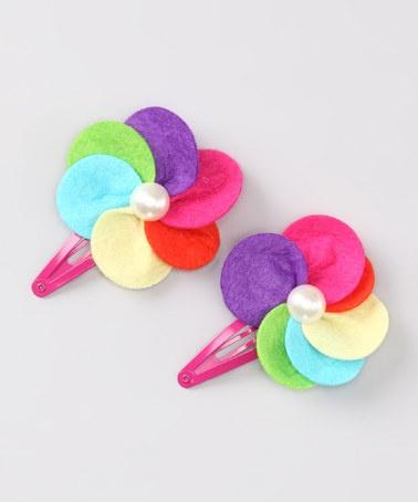 felt flower hair clips