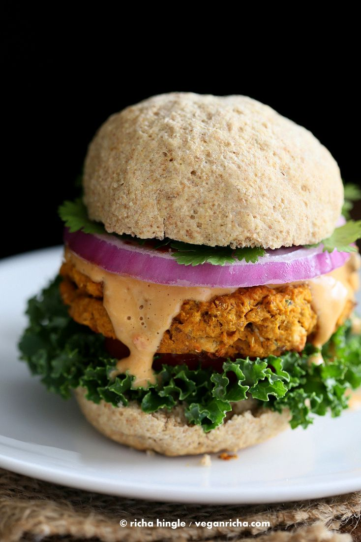 These Sweet Potato Peanut Burgers are amazingly delicious. Topped with my asian Almond Sriracha sauce. Vegan Gluten-free