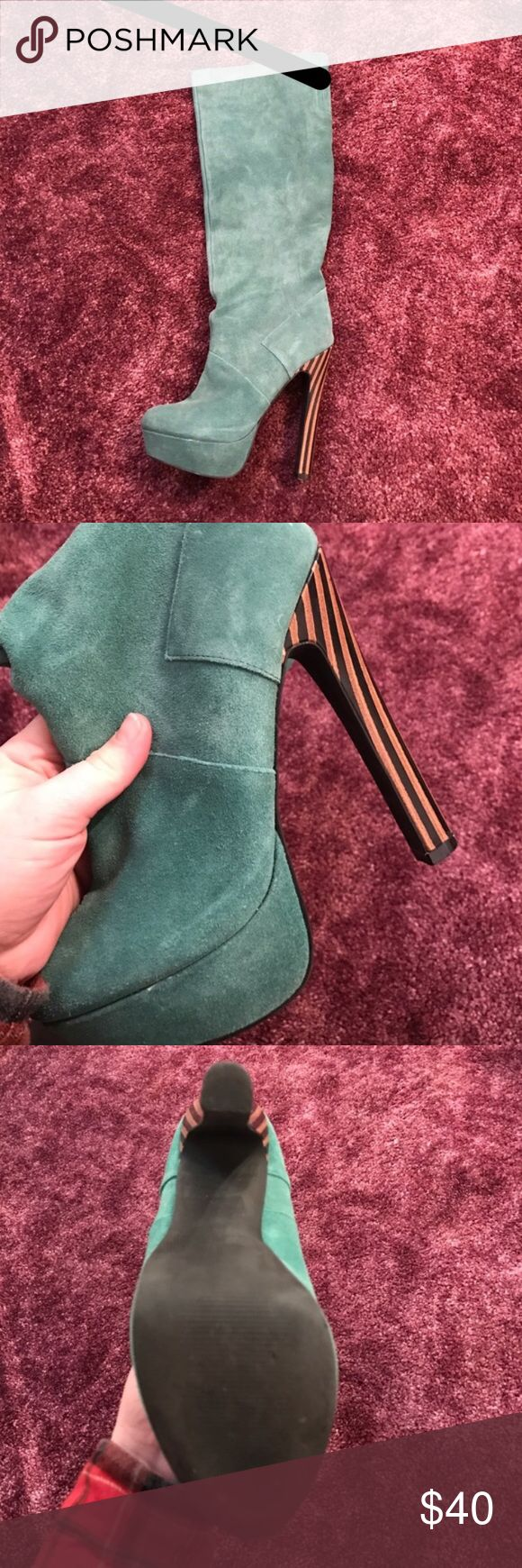 Teal colored Colin Stuart Heeled Boots Absolutely gorgeous suede boots. The color is very unique. They work great with black dress and jeans. Hardly any wear. Great used condition. Colin Stuart Shoes Heeled Boots