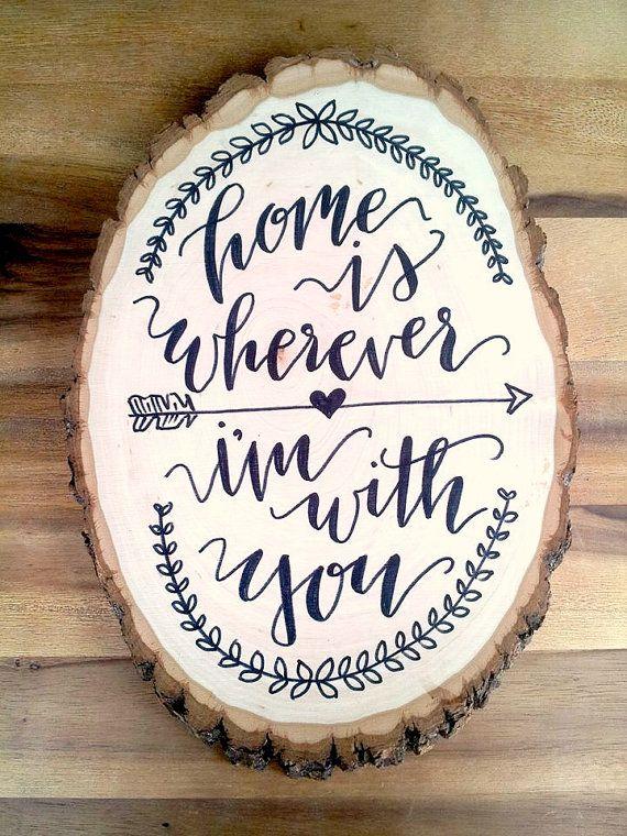 wood slice calligraphy wall hanging / wedding by theapothecarybee