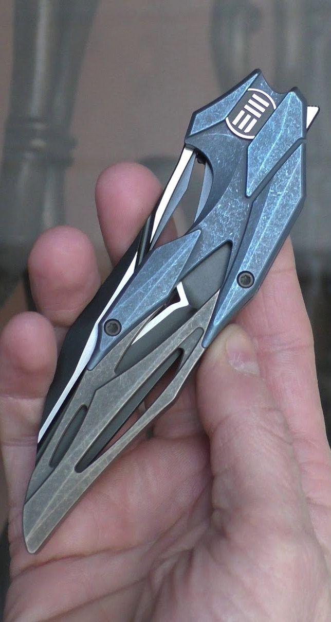 WE Knives 719A Eschaton Isham Flipper Knife Blade Blue Bronze Stonewash Titanium Two Tone M390
