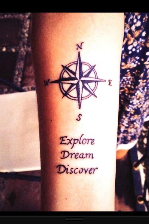 travel tattoo compass explore dream discover