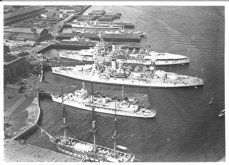 USS Constitution (bottom) with the battleships USS New York (BB-34) and USS Texas (BB-35). Picture taken in 1934.