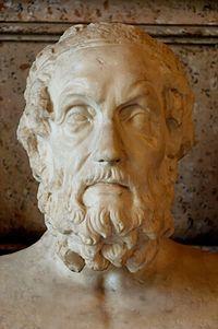 Busto de Homero. Mármol, copia romana de un original helenístico del siglo II aC. Museos Capitolinos, Roma, Italia