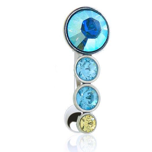 Glamour cette collection de piercings de nombril inversés aux couleurs chatoyantes, bijou en acier chirurgical.