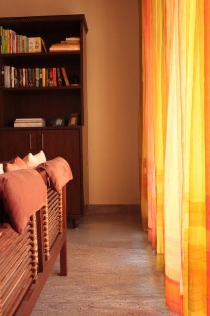 Living room fabindia curtains splendid indian decor for Living room jhoola