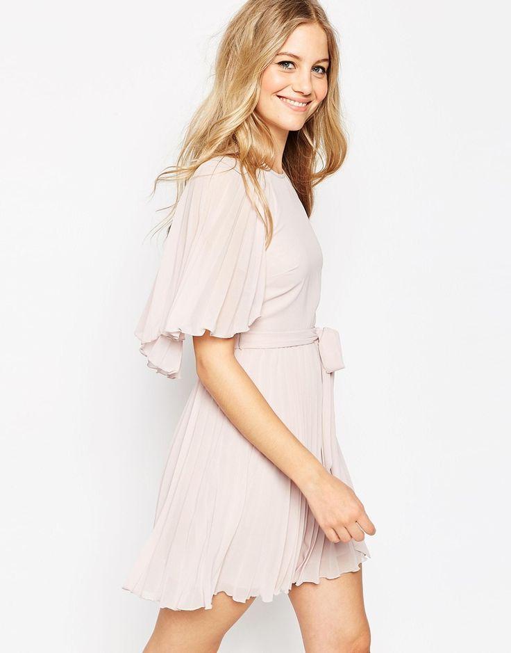 asos flutter sleeve pleated mini dress at asos com cocktailkleid
