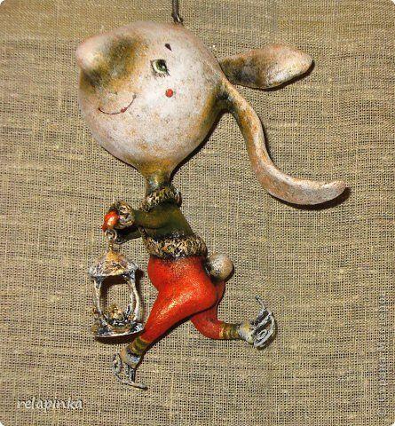 Игрушка Новый год Папье-маше заяц-пробегаец Бумага фото 1