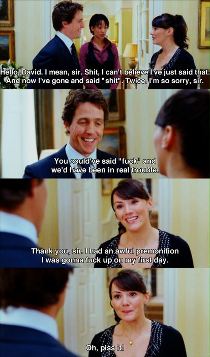 Hugh Grant meeting Martine McCutcheon for the first time in Love Actually