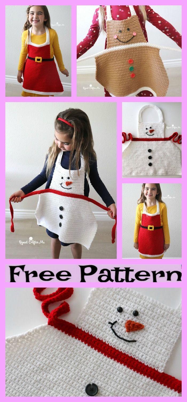 Häkeln Sie Weihnachten Schürzen – kostenlose Muster   – Nähen