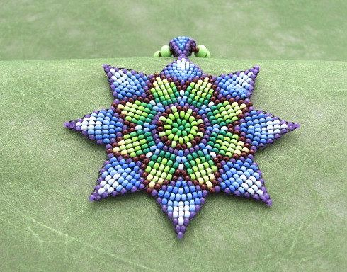 Seed Beaded  Mandala Necklace,  Blue Green Sunflower, Medicine Art Jewelry. Beadwork Necklace. Circular Stitch