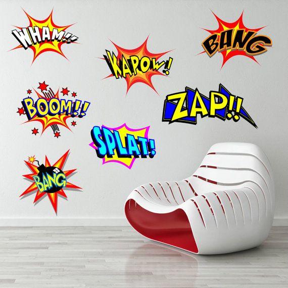 Retro Cool Comic Pop Art Wall Vinyl Sticker Graphic Decal Bedroom Car  SuperHero XLarge Part 50