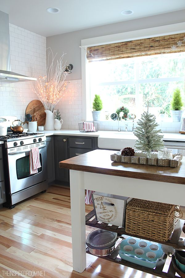 The Inspired Room Kitchen - Christmas House Tour, subway tile, kitchen island, no upper cabinets, large window over sink, gray cabinets