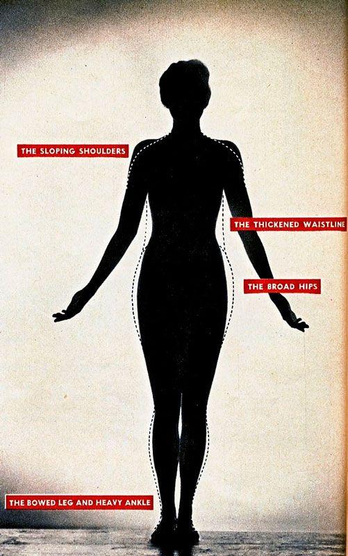 Женская фигура 1940-х годов в анфас