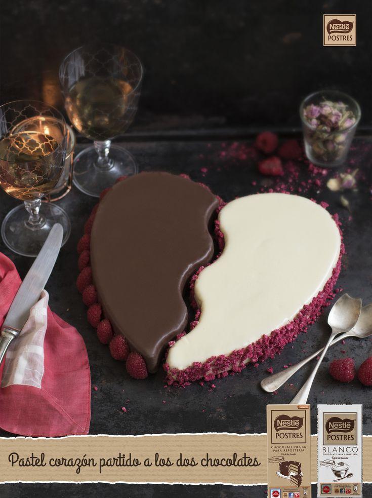Pastel corazón partido a los dos chocolates