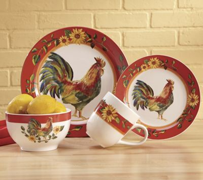 16 Piece Sunrise Sunflower Dinnerware Set French And