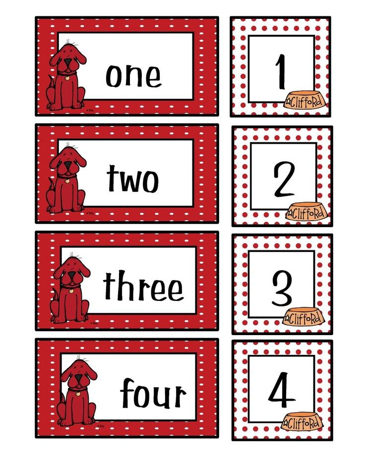 Clifford Number Match Preschool Printables by Gwyn