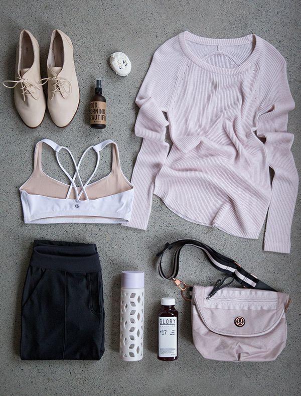 Workout Clothes: white sports bra, black leggings, pastel pullover