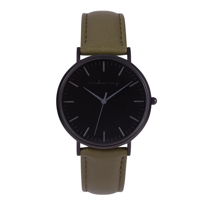 Reuben Ray Classic Matte Black Watch with Khaki Stitched Leather Band