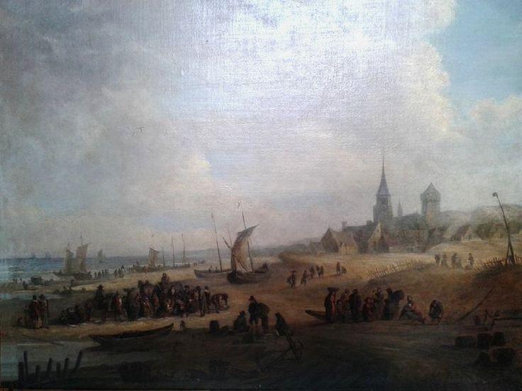 Adriaen van Drever -  Het oorspronkelijke schilderij van Adriaen van Drever uit 1647.  Het anker op de voorgrond ligt op de gravure van La Bas bij de roeiboot. De manden op de voorgrond en rechts ontbreken op de gravure. (Coll. Particulier bezit). Opvallend is de ligging van de vuurtoren vlak bij de kerk.