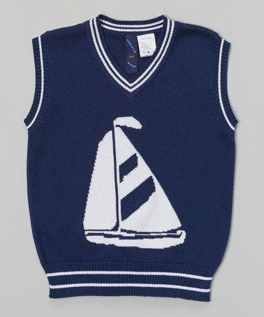 Navy & White Sailboat Sweater Vest - Toddler & Boys #zulily #zulilyfinds
