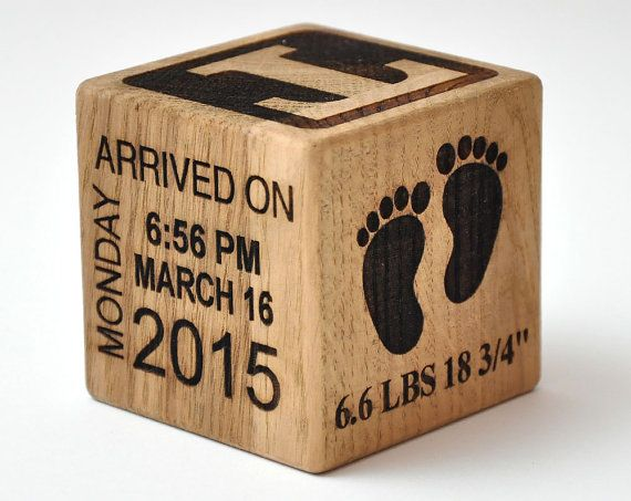 Personalized Wooden Baby Block Gift Engraved It's A by StarBlock