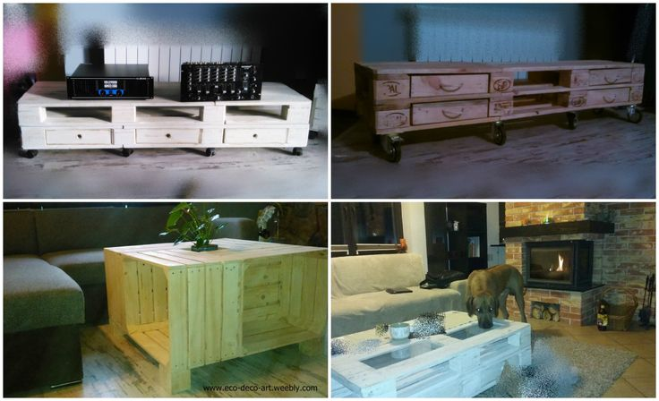 #CoffeeTable, #Recycled, #Table Many beautiful ideas to make furniture from pallets and crates. This is what you can find in Poland.