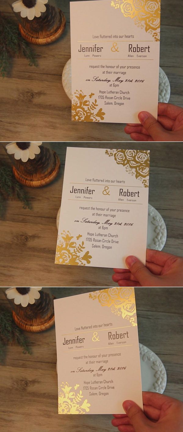 affordable traditional gold foil floral wedding invitation