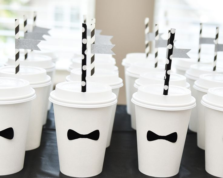 To go cups with bow ties + straws = Too cute! Featured on The TomKat Studio