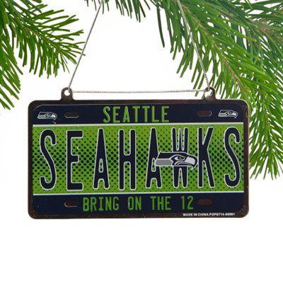 Seattle Seahawks Metal License Plate Ornament