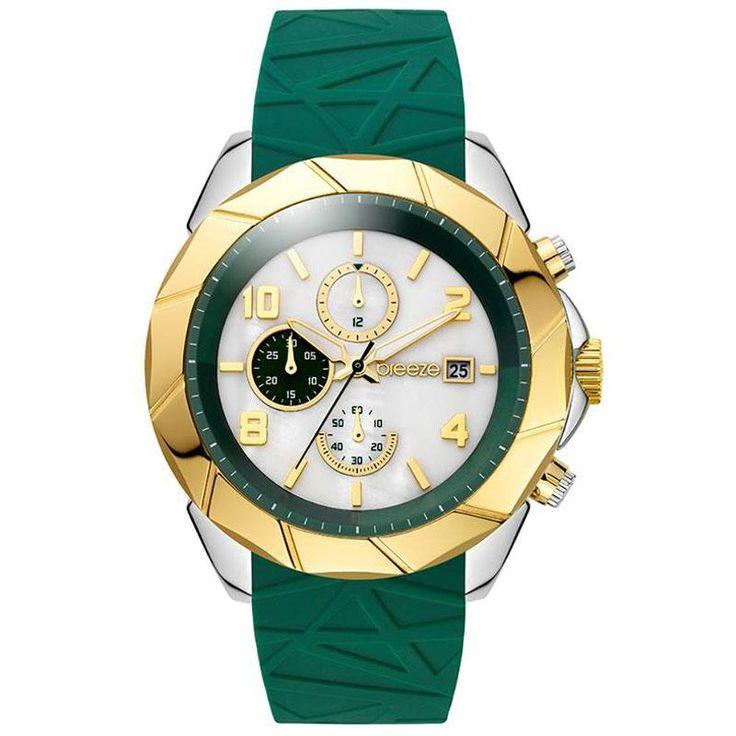 Ρολόγια : Ρολόι BREEZE Cutting-Edge Chrono Green Rubber Strap - 110231.6