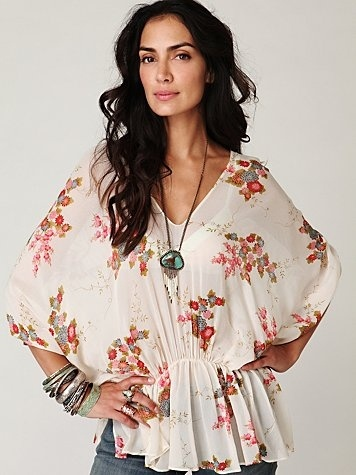 Kite and Butterfly Short Sleeve Floral Dolman Tunic at Free People Clothing Boutique - StyleSays