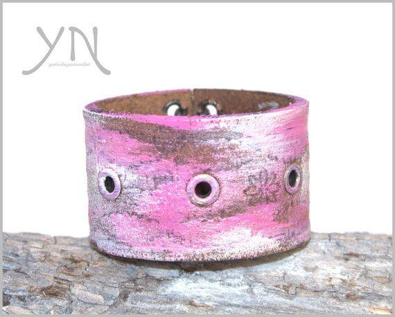 Roze Suede Armband  Vrouwen armband  Vrouw lederen armband