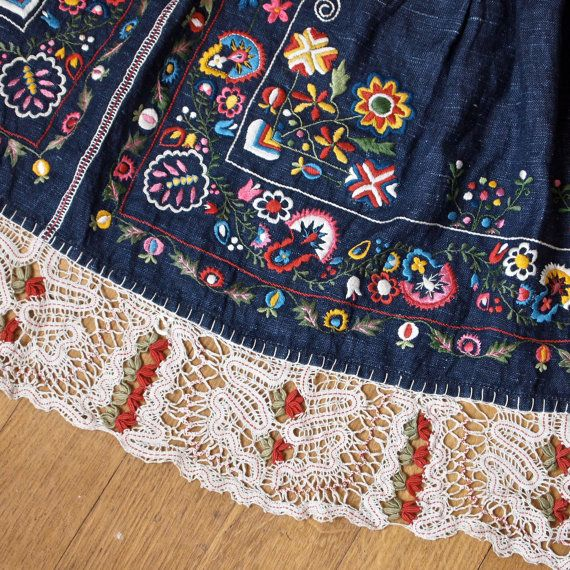 Czech Moravian Hand Embroidered Crocheted Folk by prettyinprague, $178.00