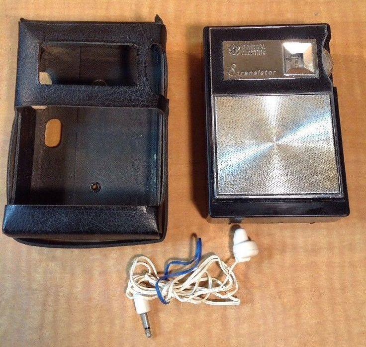 Vintage Portable POCKET Radio AM 8 TRANSISTOR General Electric P7401A HEADPHONES #GE