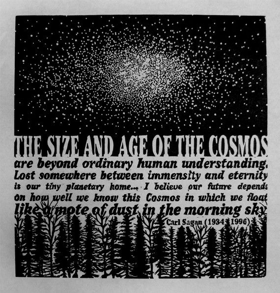 COSMOS  woodcut   orignal relief print  Carl by AmandaNicoleWhite