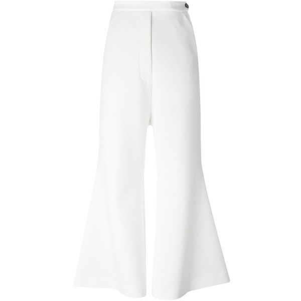 Ellery cropped culottes ($1,075) ❤ liked on Polyvore featuring pants, capris, ellery, culottes, trousers, white, crop pants, cropped trousers, white trousers and e l l e r y