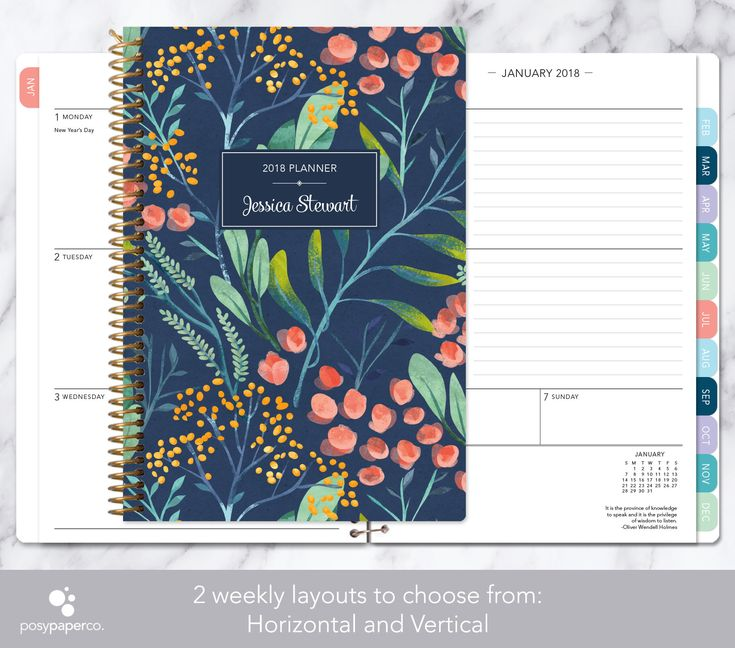 2018 planner | 2018-2019 calendar | weekly student planner add monthly tabs | personalized planner agenda daytimer | navy watercolor floral by posypaper on Etsy https://www.etsy.com/ca/listing/491928693/2018-planner-2018-2019-calendar-weekly