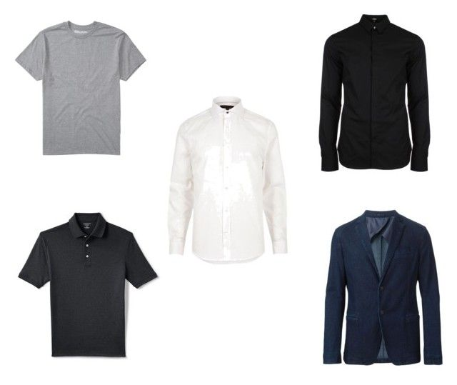 """""""Men's Capsule Wardrobe - Top"""" by justian-edwin-darmawan on Polyvore featuring River Island, Versus, Lands' End, Billabong, Armani Collezioni, men's fashion and menswear"""