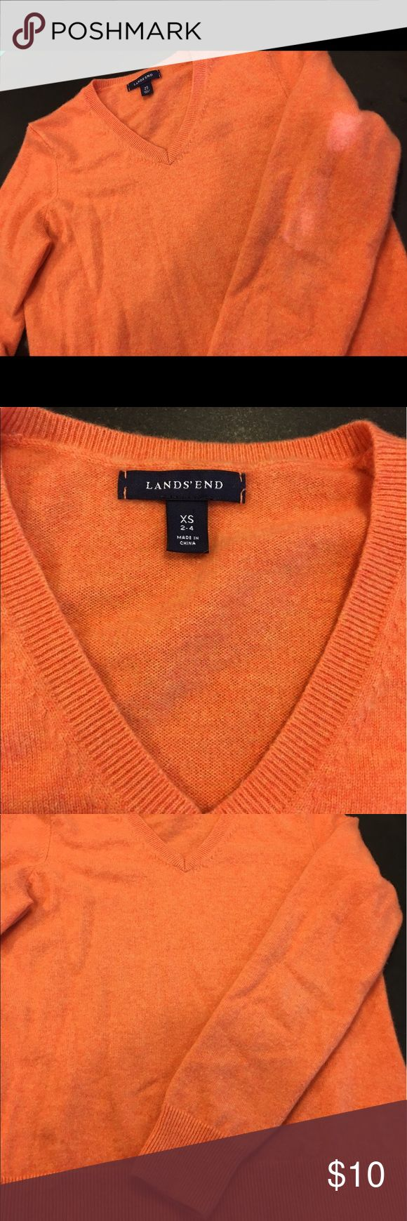 Lands End Orange Cashmere Sweater Orange Cashmere sweater. I've only worn this a few times. As you can see, it is a snug on me. I bought this from a consignment store but it really is in great shape. Lands' End Sweaters Crew & Scoop Necks