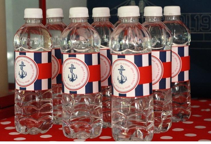 Water bottles for nautical wedding goodie bags