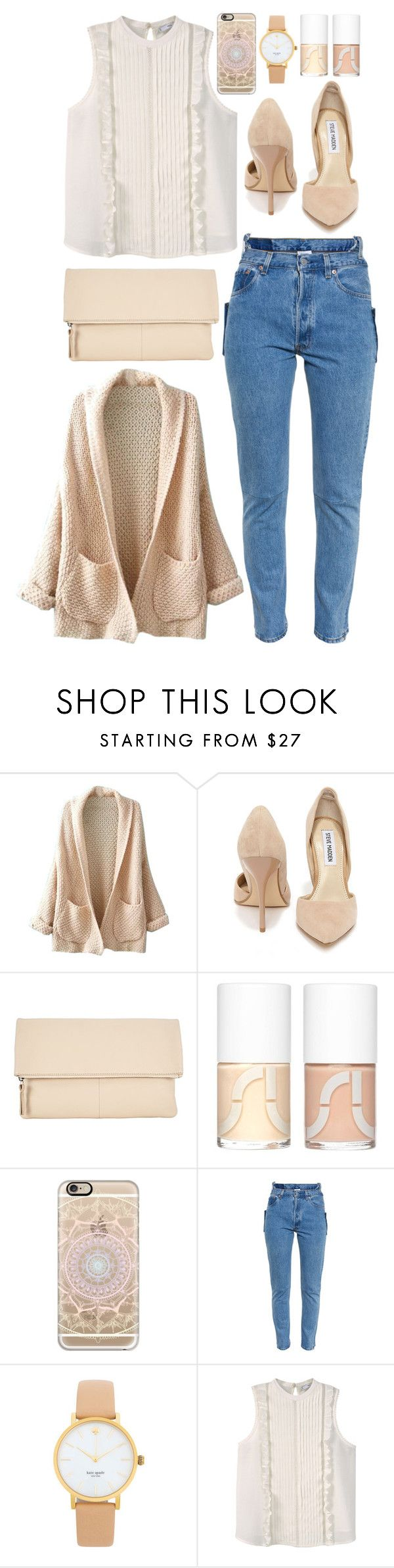 """""""pink outfit"""" by enjoyrosa ❤ liked on Polyvore featuring WithChic, Steve Madden, Kin by John Lewis, Uslu Airlines, Casetify, Vetements, Kate Spade and MANGO"""
