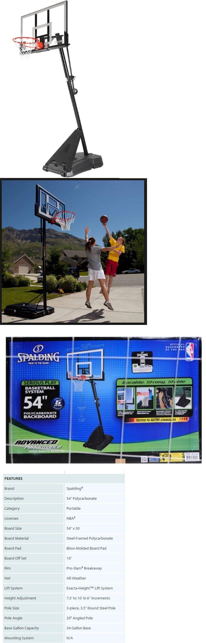 Backboard Systems 21196: Spalding 54 Portable Basketball Hoop Adjustable Height Pole Backboard Net -> BUY IT NOW ONLY: $246.67 on eBay!
