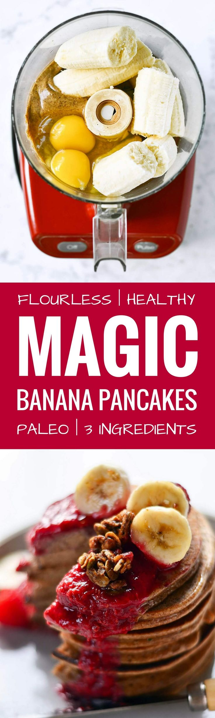 Magic paleo blender banana pancakes. best paleo pancakes recipe. Light, soft, and fluffy! 3 ingredients. Easy paleo pancake recipe. Best healthy banana pancakes recipe. Flourless banana pancakes. Pancakes from scratch. Pancakes ideas. Healthy fluffy banana pancakes. Paleo almond pancakes. 2 medium soft bananas  2 small/medium eggs  3/4 cup almond butter