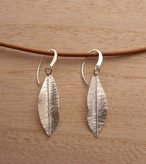 Pendientes hoja joyería botánica plata de ley joyería