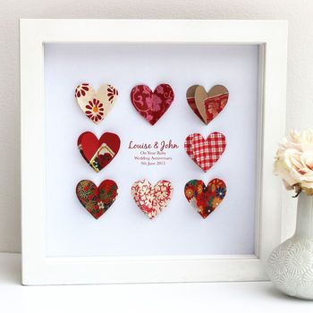Personalised Ruby Wedding Anniversary Paper Hearts
