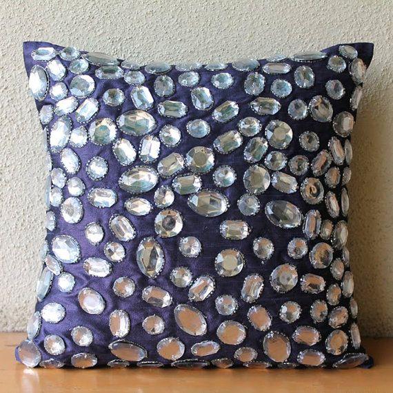 Diamante Sparkle - 16x16 Crystal Embroidered Silk Throw Pillow Cover.