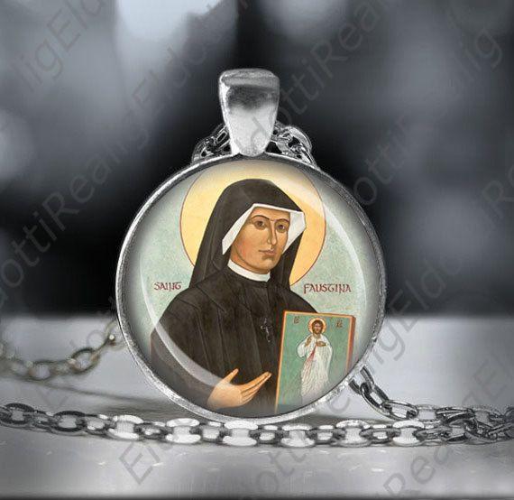 St Faustina Kowalska Catholic Medal Necklace Saint  of by ElDotti