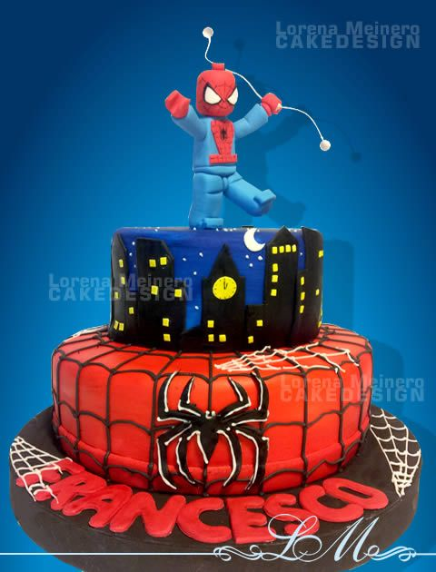 Lego spiderman cake